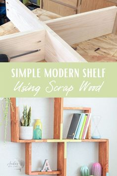 Learn how to build a simple wall shelf with this full tutorial, video and plans. This modern DIY display shelf is the perfect beginner woodworking project. Make it using the easy Kreg 320! #diyshelf #scrapwood #AnikasDIYLife Wood Projects For Beginners, Wood Working For Beginners, Easy Diy Projects, Project Ideas, Kreg Jig Projects, Scrap Wood Projects, Diy Furniture Projects, Woodworking Projects That Sell, Beginner Woodworking Projects