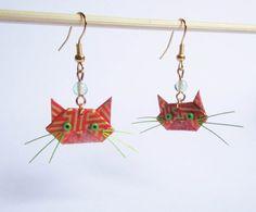 Boucles d'oreilles chats en origami par ichimo sur Etsy, €8.00