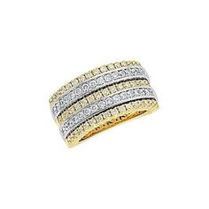1 1/2 Ct Natural Diamond 14K Two Tone Gold Anniversary & Wedding Band Ring # Free Stud Earrings by JewelryHub on Opensky