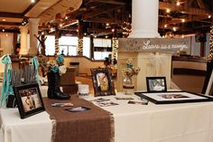 rustic wedding sign in tables - Google Search