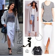In the Light: Nikki Reed's Striped Tee and White Midi Skirt Look for Less