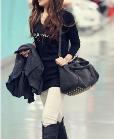 Black Shoulder Bag with Studded Bottom