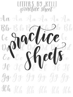 These digital prints will allow you to practice with my hand lettering style! Practice Sheets come in PDF format, can be print Hand Lettering For Beginners, Calligraphy For Beginners, Hand Lettering Styles, Hand Lettering Practice, Hand Lettering Alphabet, Hand Lettering Tutorial, Doodle Lettering, Brush Lettering, Cursive Alphabet