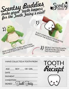 """Scentsy Buddies make great """"tooth keepers"""" for the Tooth Fairy's visit! ♥ #scentsy #scentsybuddy www.michelleciano.scentsy.us"""