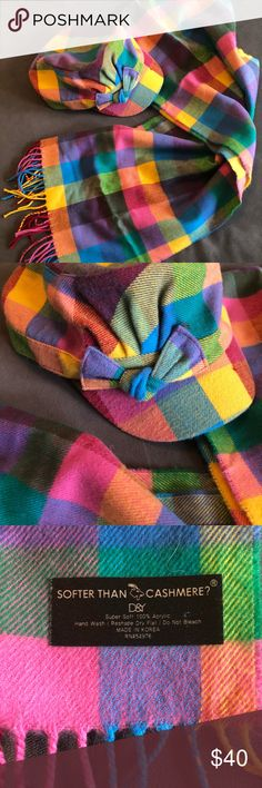 D&Y Softer than Cashmere hat and scarf Softer than cashmere! Love this set! Rainbow plaid perfect for spring. Cadet style hat w bow and long fringe scarf. NWOT D&Y Accessories