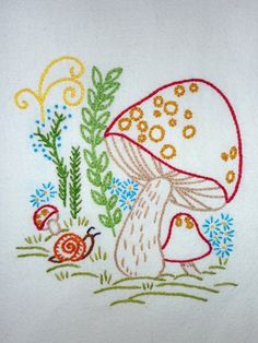 Whimsical Retro Mushroom Hand-Embroidered by MelysHandEmbroidery
