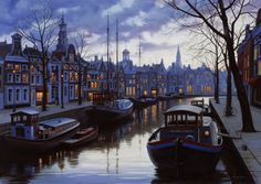 Twilight in Amsterdam (painting) by Evgeny Lushpin