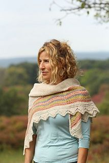 This a half sized version of my Hansel pattern-a traditional Shetland Hap shawl.
