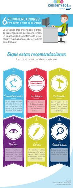 #Infografia Recomendaciones para cuidar la vista en el trabajo