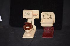 Here is a wonderful set, I thought about keeping this one. This is a miniature Toilet and Sink for your Dollhouse or Miniature room. The set is old -$295