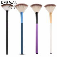 KESMALL Slim Fan Shape Makeup Brushes Powder Foundation Blending Finishing Highlighting Make Up Brush Cosmetics Nail Tools CO369 #Affiliate