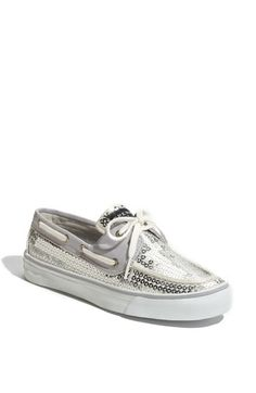 sequined sperrys.