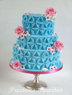 blue cake (triangle) - by PreciousPeggy @ CakesDecor.com - cake decorating website
