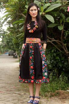 Batik Amarillis made  in Indonesia proudly presents Batik Amarillis' folklore#2 vol#1  Transylvanian skirt & mini obi belt  it's such a unique & folkloric skirt inspired by traditional costume in Transylvania , with meticulous intricating Hungarian embroidery folk art style you can enjoy the beauty of flowers,leaves and birds on its embroidery