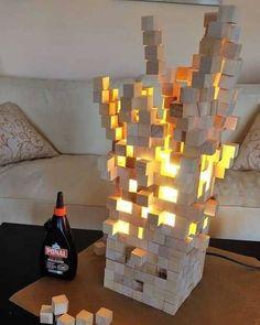 Minecraft Bedroom Decor, Minecraft Room, Diy Wall Art, Wood Wall Art, Lamp Design, Lighting Design, Wooden Desk Lamp, Rustic Lamps, Pipe Lamp