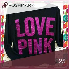 """Cute """"LOVE PINK"""" Top! ADORABLE Glitter Long Sleeve Tee! Hits just at the waist for a cute cropped look! Doesn't show your tummy at all ! Fun layered or alone has a thinner sweatshirt feel to it! OSFA SM-Med Not Victoria's Secret product* Un-Branded Tops"""