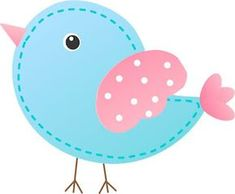 Pink and Light Blue Bird: Free Printable Box. Baby Set, Diy And Crafts, Paper Crafts, Bird Party, Clip Art, Cute Clipart, Cute Birds, Applique Patterns, Cute Images