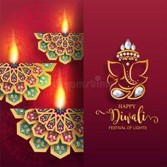 Illustration about Happy Diwali festival card with gold diya patterned and crystals on paper color Background. Illustration of cultural, elegant, background - 125945601 Happy Diwali Hd Wallpaper, Diwali Quotes, Diwali Wishes, Diwali Festival, Diwali Decorations, Festival Lights, Flower Frame, Festivals, Birthday Candles