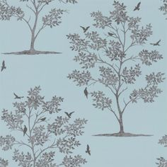 Bird Tree (40549) - Albany Wallpapers - Delicate leafed tree motif, with birds - created in mottled metallic silver colour on a warm blue background. Other colours available. Please request sample for true colour match.