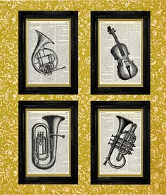 Musical Instruments Prints Multi-pack, Dictionary Page Book Art Print, Recycled Upcycled Book Page Art, Home or Office Wall Decor
