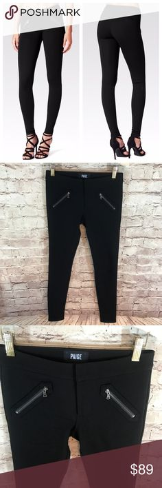 """Paige Clarence Skinny Zip Black Pants So cute and perfectly on trend! Excellent condition never worn! Size 24. Inseam 28"""" &149 PAIGE Pants Skinny"""