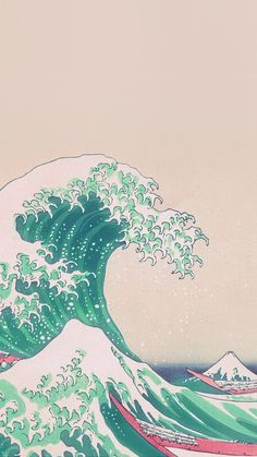 Wave Art Japanese Green Illust Classic #iPhone #6 #plus #wallpaper