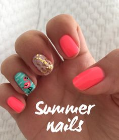 Summer nails Coral and teal, golden glitter ✨ and a cute flamingo