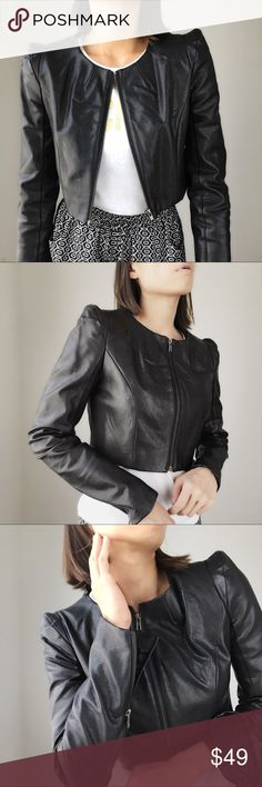 """AT THE TOP Jacket Cropped Moro jacket with zip up front and zip up in the sleeves. Fully lined. I'm wearing size S. Bust 34"""",shoulder 13.5"""". Great styling with casual top as well as executive wear. Personally I like to mix with feminine ethereal dress with this jacket. Good as new. Jackets & Coats Blazers"""