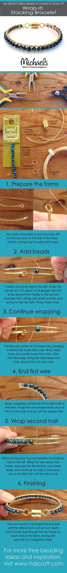 Step-by-step photos by Barb Switzer show you how to make a wire wrapped bracelet with Bead Gallery beads for a sparkling beauty you'll love to stack!