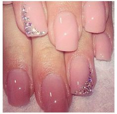 Nude short square nails with diamond accent nail.