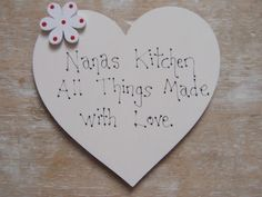 Personalised Nana`s  Kitchen Wooden Heart  Heart Fridge Magnet Gift