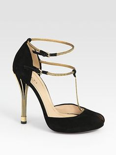 Gucci Ophelie Suede Chain T-Strap Sandals. Very Art Deco.