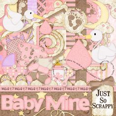 Baby Mine Girl Digital Scrapbook Kit