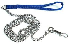"""Dog Pet Puppy Leash Training Lead CHAIN w/ Nylon Handle Swivel Hook 48"""" BLUE OR YELLOW *** Read more at the image link. #DogTrainingBehaviorAids"""