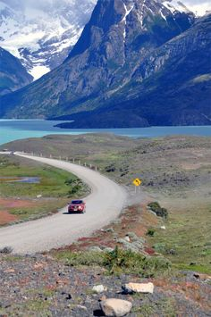 Driving through Torres del Paine National Park in Patagonia, Chile