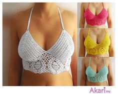 Pineapple motif crochet top pattern. Crop halter top. Open back. Small Medium and Large sizes explained. PDF_ C04
