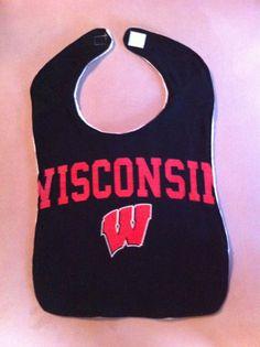 Upcycled TShirt Bib  Wisconsin  Black by MnStyle on Etsy, $15.00