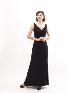 Vintage Evening Gown  50s Black Dress  Red by concettascloset, $112.00