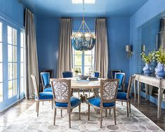 View the portfolio of interior designer Creative Tonic - Courtnay Tartt Elias in Houston, TX Palace Interior, Room Interior, Interior Ideas, Living Room Paint, Living Room Colors, Colorful Restaurant, Design A Space, Blue Rooms, Blue Walls