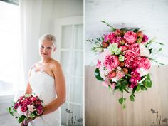 Pink wedding flowers - bride and pink flowers