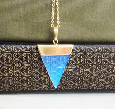 Gold Triangle Opal Necklace Geometric Shape Gemstone Modern Delicate Simple Everyday Long Layering Layered Jewelry Gift White Stone by JEWELSALEM