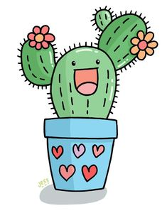 Jess Bradley up - Malen - Cactus Cactus Drawing, Cactus Art, Cactus Flower, Cactus Plants, Cactus Painting, Cacti, Cactus Stickers, Cute Stickers, Kawaii Drawings