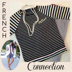 French Connection  Lightweight Sweater  Holiday Sale!! Buy 2⃣ get 1⃣ FREE; or Buy 3⃣ get 2⃣ FREE (see holiday sale post for details)   Amazing lightweight striped sweater by French Connection...has the name embroidered on the front in yellow...PERFECT for layering and fierce by itself...tag says it's a large but I'd say more like a S/M  French Connection Sweaters Crew & Scoop Necks