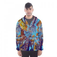 """Men's Hooded Windbreaker - """"Blue Autumn"""" 