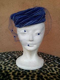 6361c11b052 Vintage 1960s Pillbox Hat Blue Chenille Veil 60s Hat Something Blue 60s  Fashion Trends