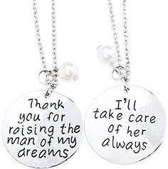 O.RIYA Thank You for Raising the Man of My Dreams with Family Tree Chrams Pendant Necklaces Set