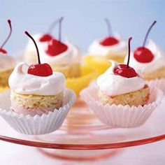 These fun little cakes are perfect for an afternoon tea--or just for fun. Use any ice cream or frozen yogurt flavor to tailor it to your own preference. You can assemble and freeze the cakes up to a day in advance.