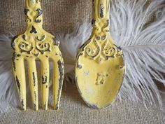 Wall Art- Yellow Fork and Spoon Oversize - Rustic Cottage cast Iron - Shabby Distressed - Kitchen Restaurant Decor. $23.99, via Etsy.