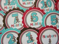 The Original Silly Sock Monkey Baby's 1st Year Tags by ciaobambino, $10.00