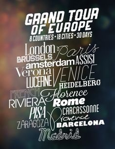 Cities visited on Grand Tour of Europe with EF College Break